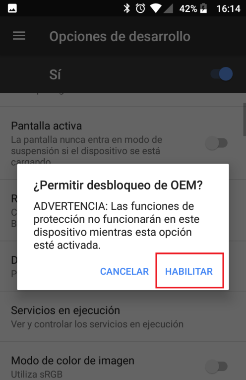 Desactivar proteccion oem android