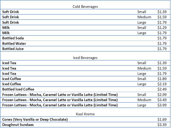 krispy creme menu