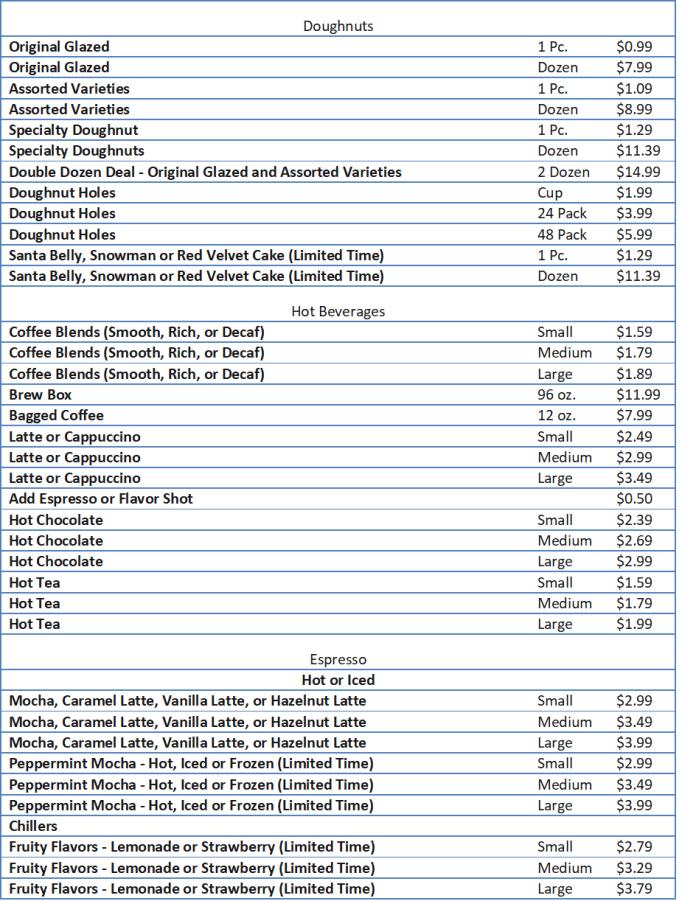 krispy kreme prices