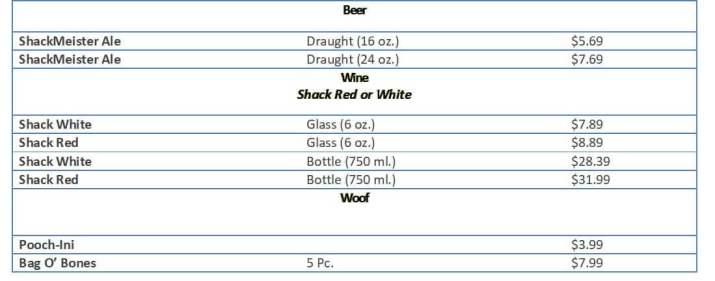 shakeshack menu