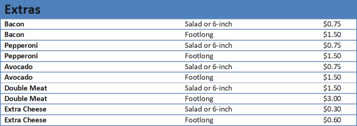 subway prices menu