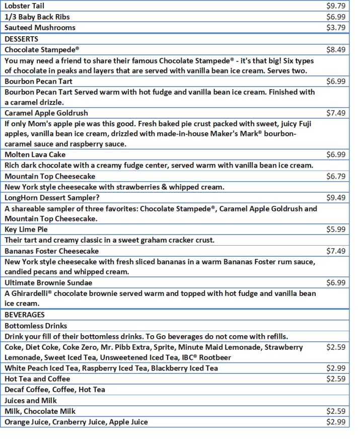 longhorn menu with prices