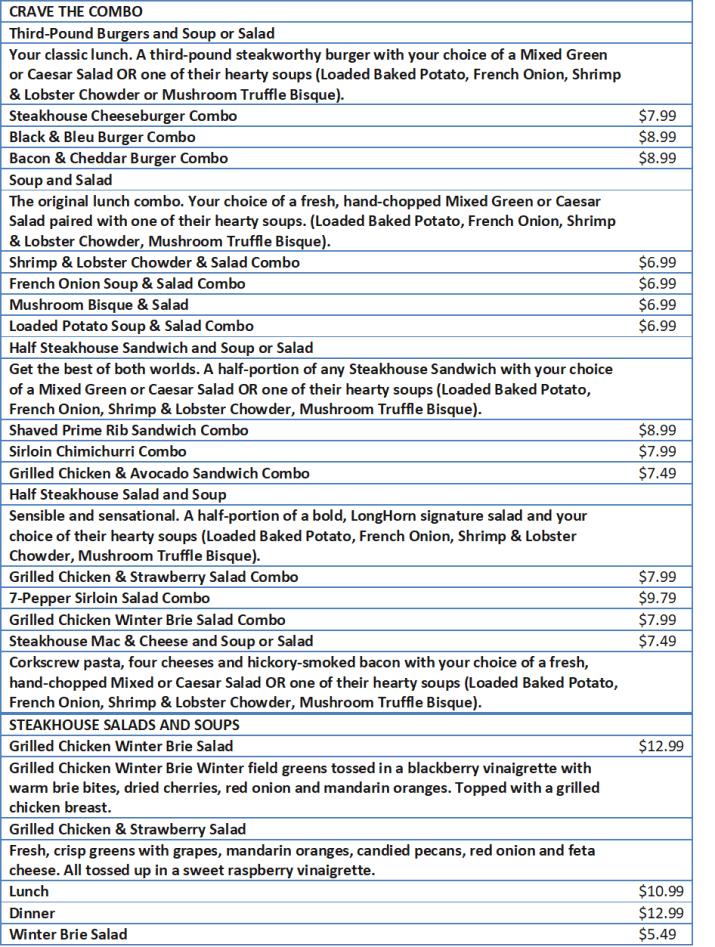 longhorns menu and prices