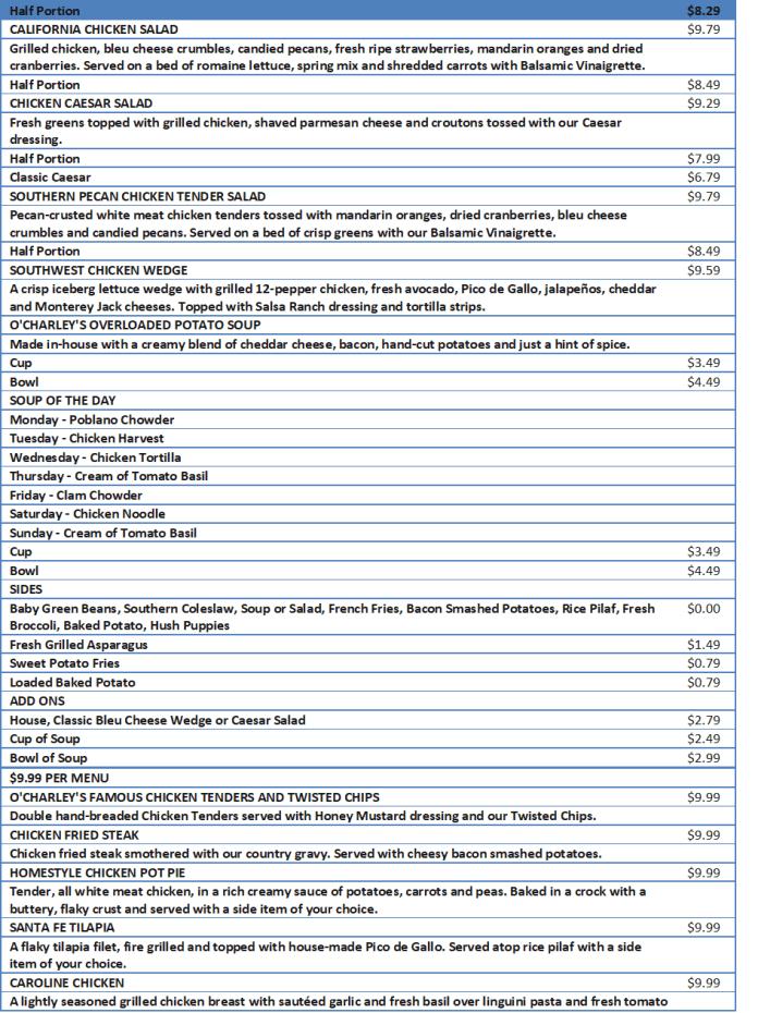 ocharley menu