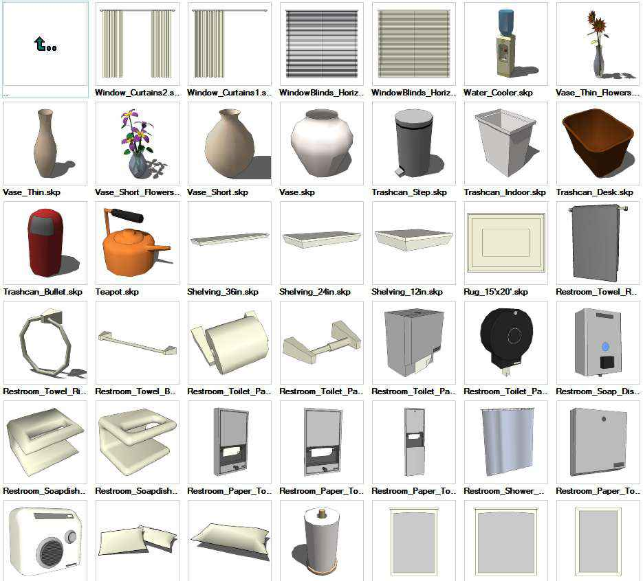 Sketchup Interior Objects 3D models download – Free Cad