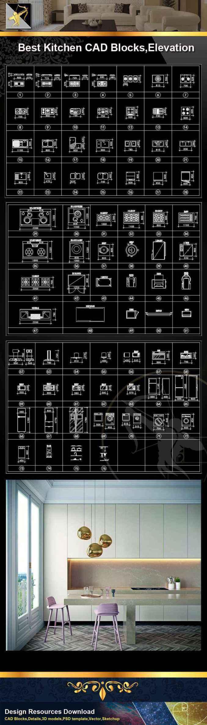 ★【Kitchen CAD Blocks】@Autocad Blocks,Drawings,CAD Details,Elevation