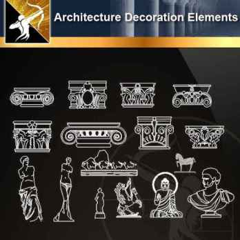 ★【 Architecture Decoration Elements V.1】@Autocad Decoration Blocks,Drawings,CAD Details,Elevation