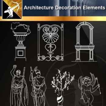★【 Free Architecture Decoration Elements V.6】@Autocad Decoration Blocks,Drawings,CAD Details,Elevation