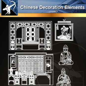 ★【Chinese Decoration Elements】@Autocad Blocks,Drawings,CAD Details,Elevation