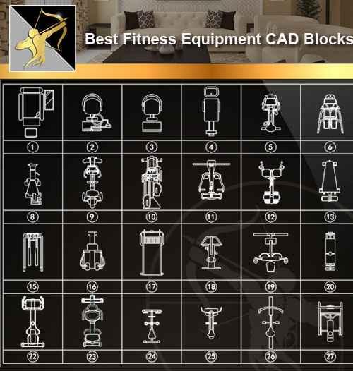 ☆【fitness equipment】 autocad blocks drawings cad details