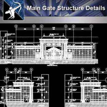 【Architecture CAD Details Collections】Main Gate Structure CAD Details