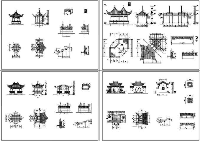 ★【Chinese Architecture CAD Drawings】@Chinese Pavilion Drawings,CAD Details,Elevation