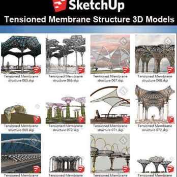 【Sketchup 3D Models】19 Types of Tensioned Membrane Structure Sketchup Models V.4