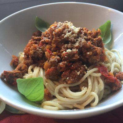 Pâtes (spaghetti) sans gluten ni lactose : alla bolognese