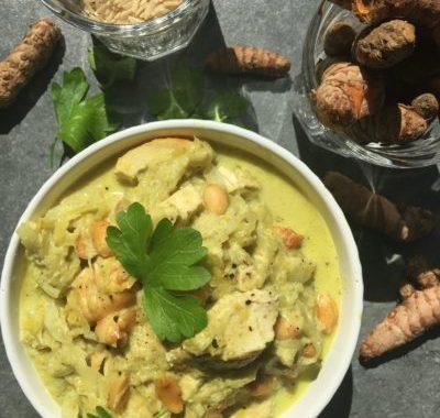 sans gluten ni produits laitiers : poulet à la crème de coco et aux poireaux