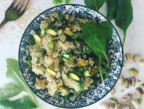 quinoa aux épinards et aux pistaches