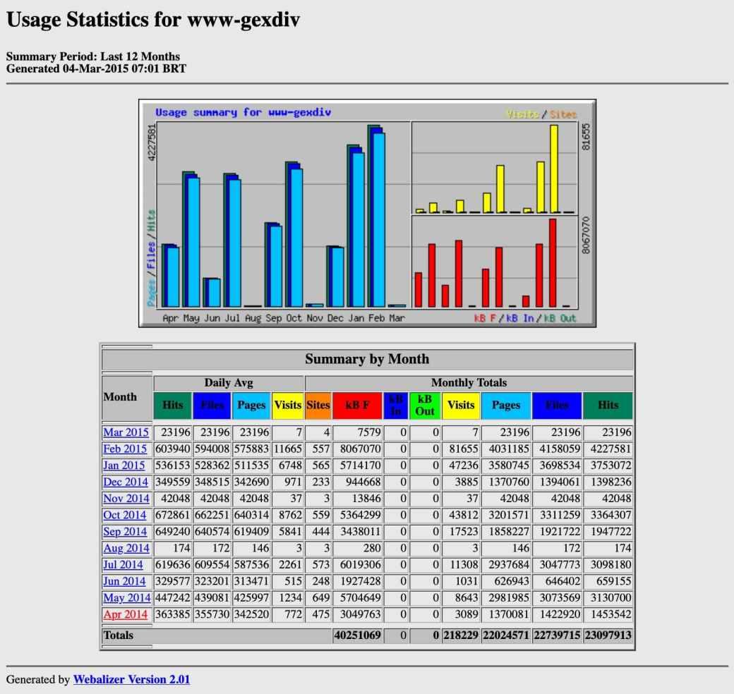 captura de tela do webalizer