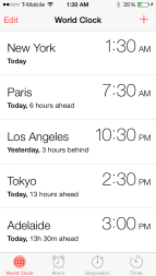 world clock feature for iPhone