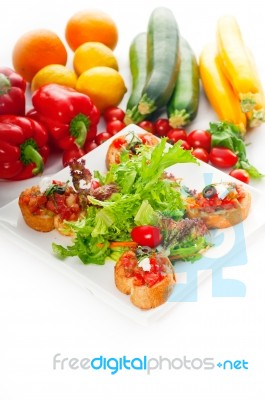 Original Italian Fresh Bruschetta Stock Photo