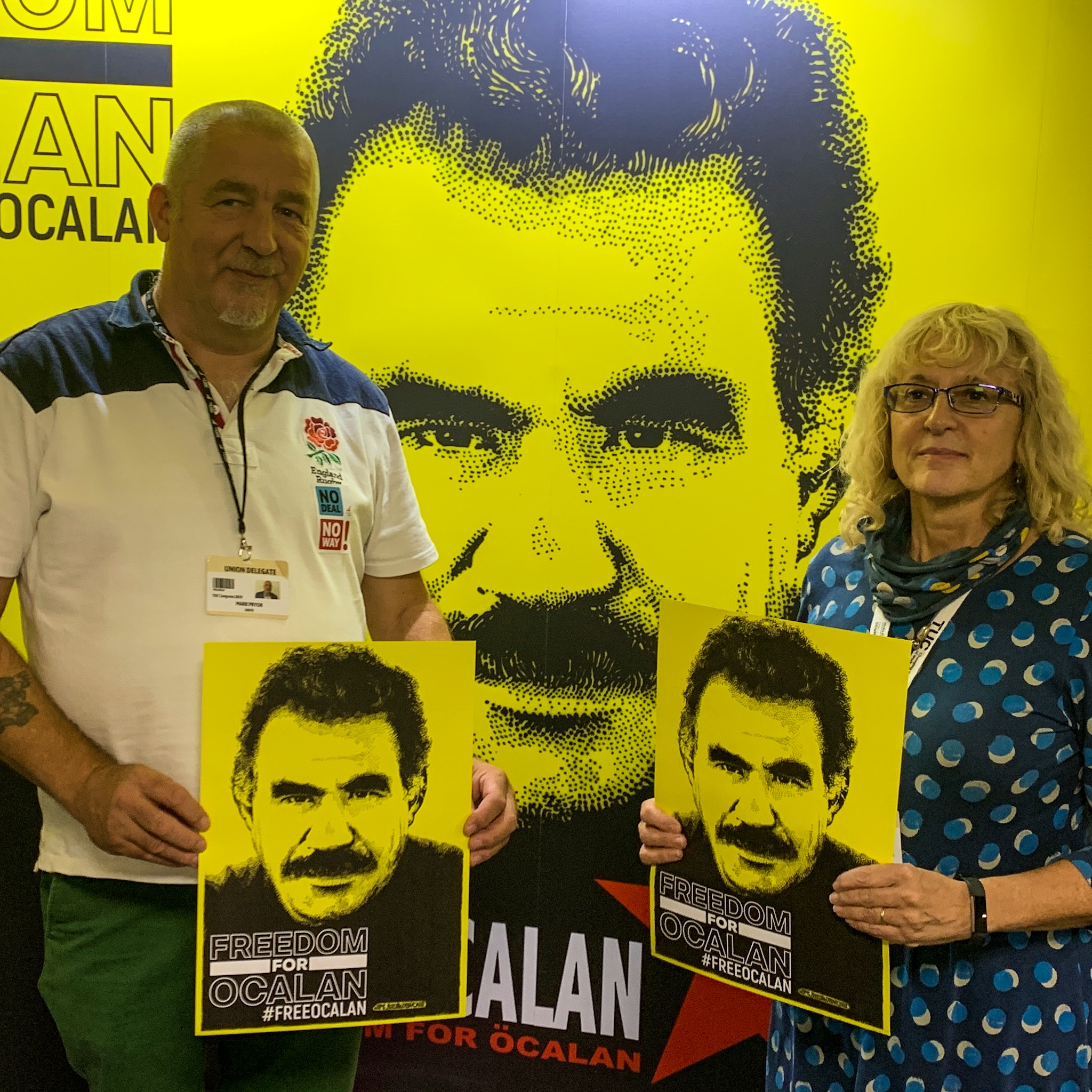 Mark Pryor Food, Drink & Agriculture Chair & Assistant General Secretary Diana Holland Unite the Union showing their solidarity fro Freedom for Ocalan at TUC Congress 2019