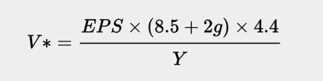 Use the Graham formula to calculate the intrinsic value of a business