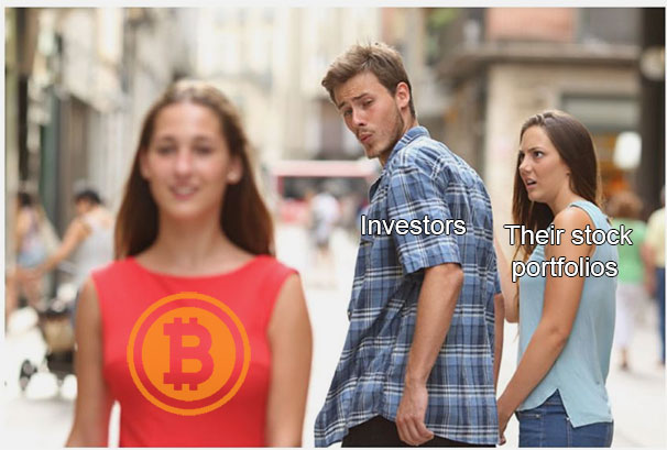 stock investors eyeing bitcoin and cryptocurrency jealous girlfriend meme