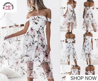 Off the Shoulder Floral Printed Long Maxi Dress