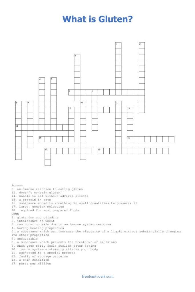 What is Gluten? Crossword Puzzle