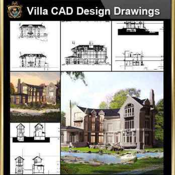 ★【Villa CAD Design,Details Project V.4-England Manor Style】Chateau,Manor,Mansion,Villa@Autocad Blocks,Drawings,CAD Details,Elevation