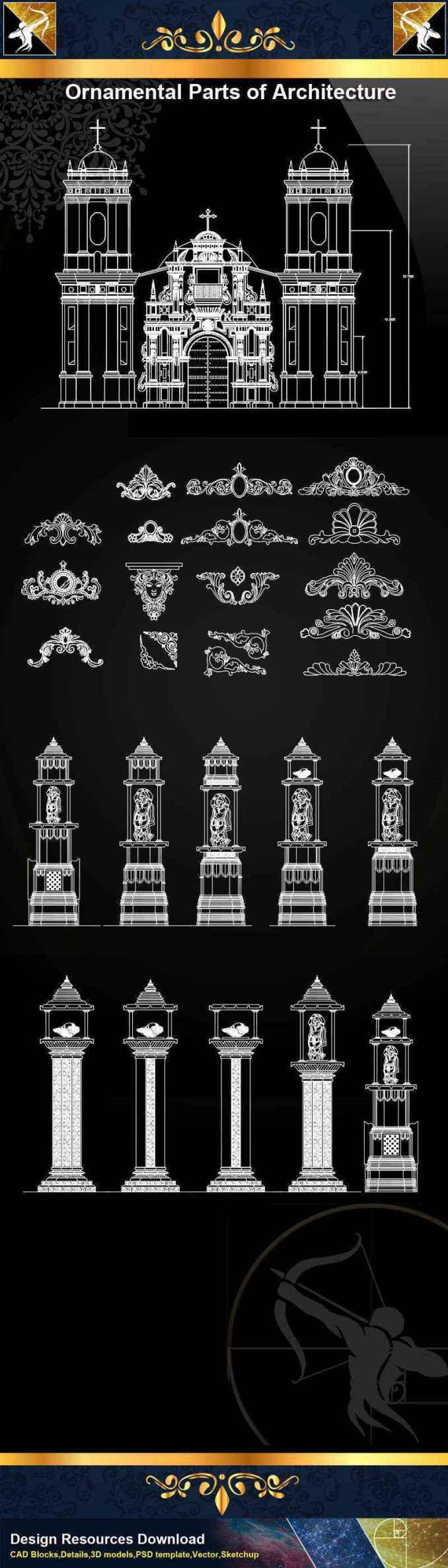 ★【Ornamental Parts of Architecture -Decoration Element CAD Blocks  V 6】@Autocad Decoration Blocks,Drawings,CAD Details,Elevation