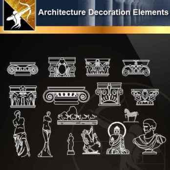★【 Architecture Decoration Elements V.1】@Autocad Decoration Blocks,Drawings,CAD Details,Elevation
