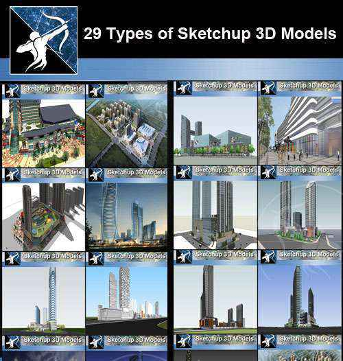 ★Best 25 Types of Mix Commercial,Residential Building Sketchup 3D Models  Collection - Free Download Architectural Cad Drawings