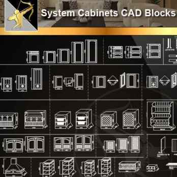 ★【 System Cabinets CAD Drawings V.1】@Autocad Blocks,Drawings,CAD Details,Elevation