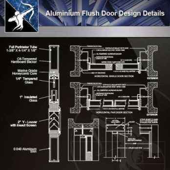 【Architecture CAD Details Collections】Aluminium Flush Door Design CAD Details