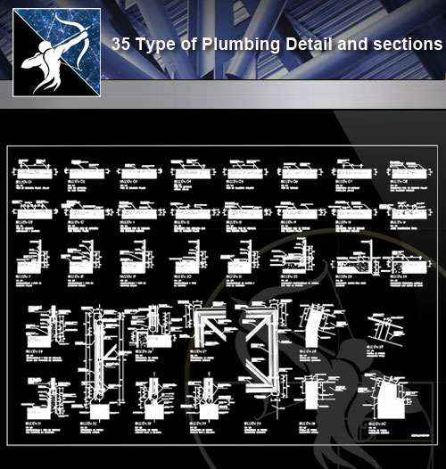 【Architecture CAD Details Collections】35 Types of Plumbing CAD Details and sections