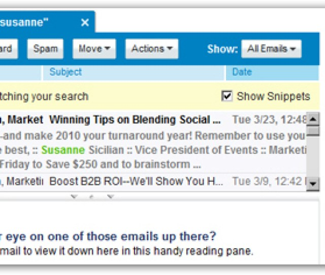 Yahoo Mail Search Results As Clickable Emails