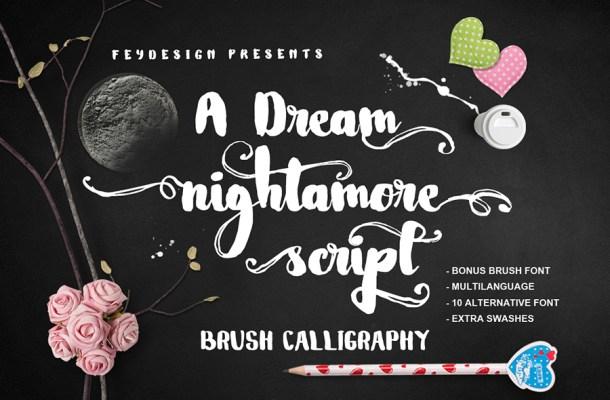 Nightamore Brush Font