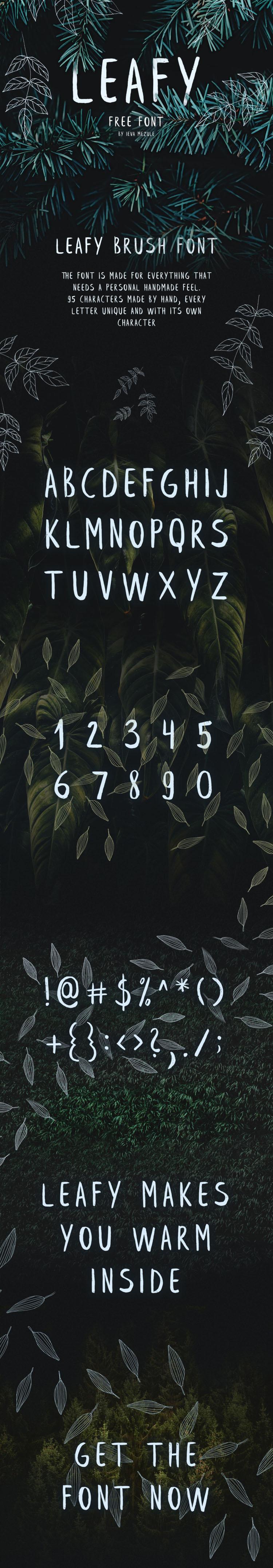 Leafy Free Brush Font 2