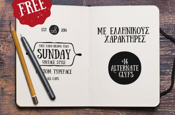 Sunday Free Hand Drawn Font