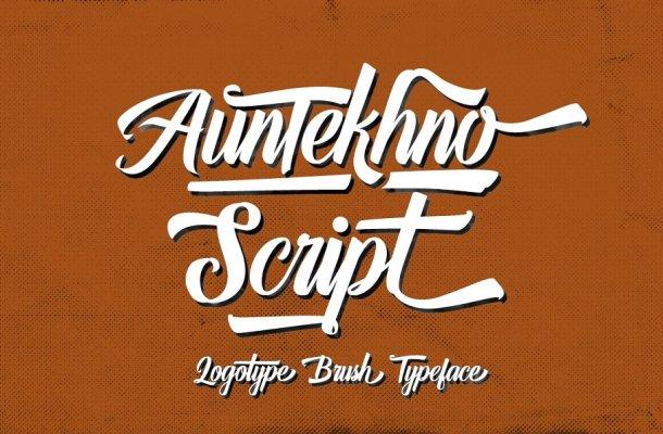 Auntekhno Brush Font
