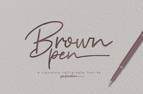 Brown Pen Signature Font