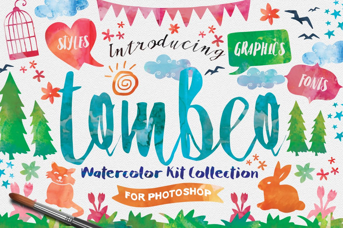Tombeo-Watercolor-Kit-Font