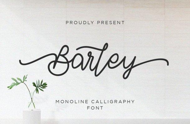 Barley Monoline Calligraphy Font