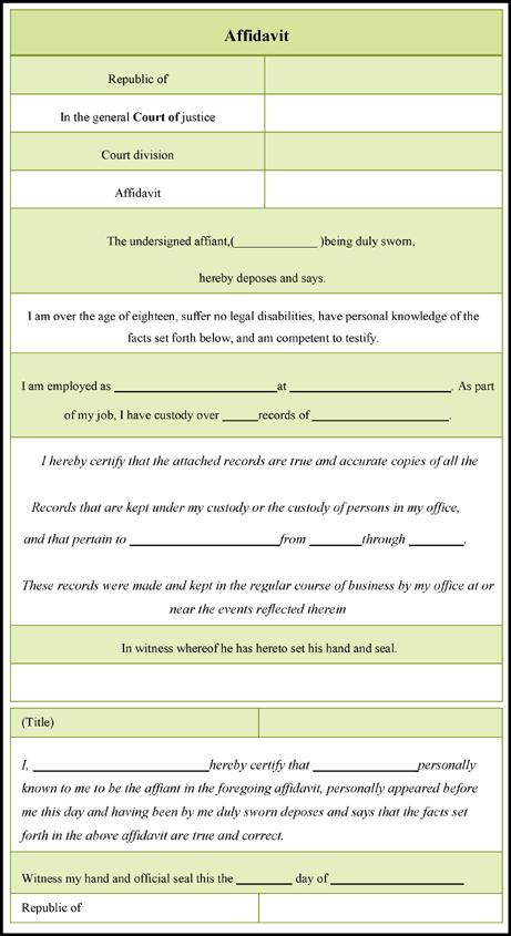 Free Affidavit Template Download  affidavit form 303 free