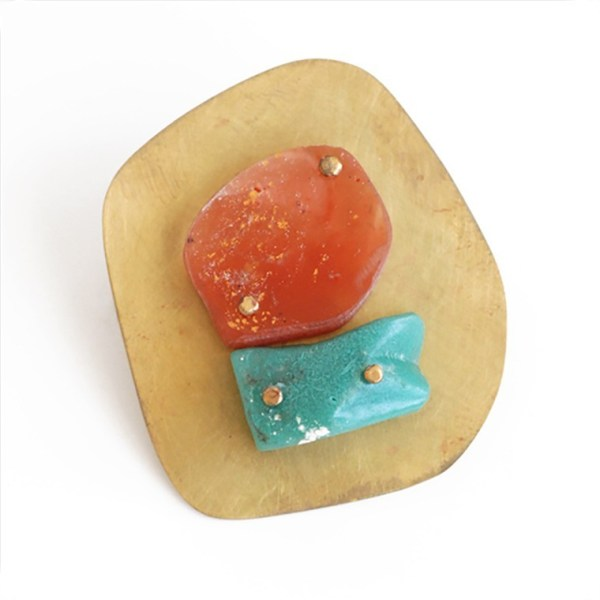 """""""I Might"""" Orange and Turquoise Resin Brooch by Maru López"""