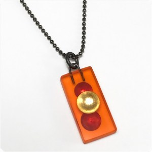 Orange Domino Charm Necklace by Karen McCreary