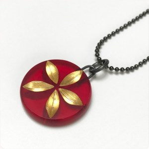 Red Flower Charm Necklace by Karen McCreary