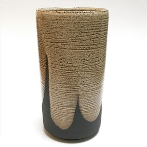 Slender Beige and Black Vase by Vince Palacios