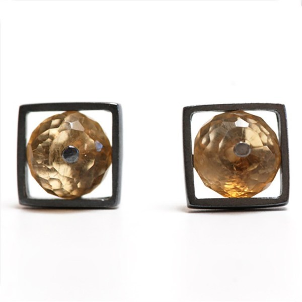 Small Square Cage Earrings by Ashka Dymel