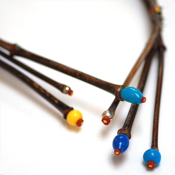 Three-part Black Bamboo Necklace by Robert Liu